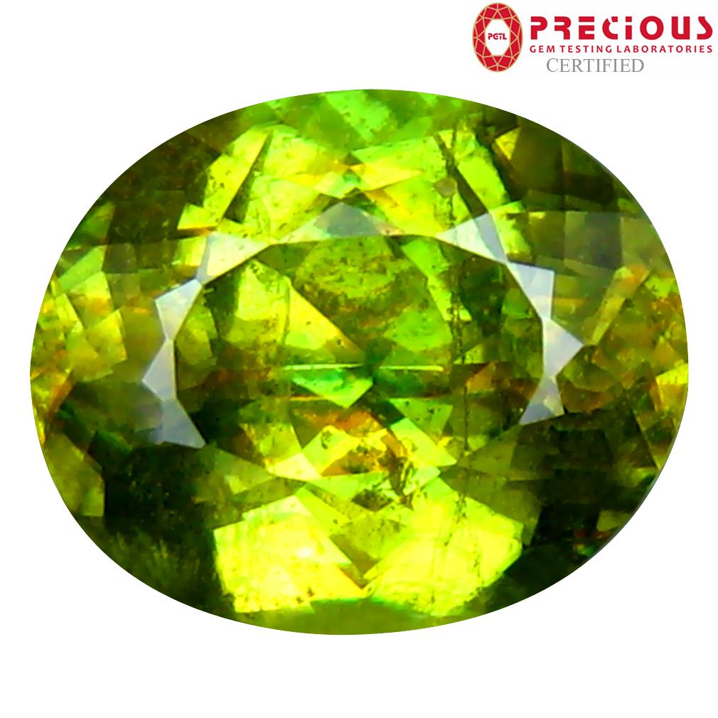 3.75 ct PGTL Certified AAA+ Grade Great looking Oval Cut (10 x 9 mm) Un-Heated Greenish Yellow Sphene Stone