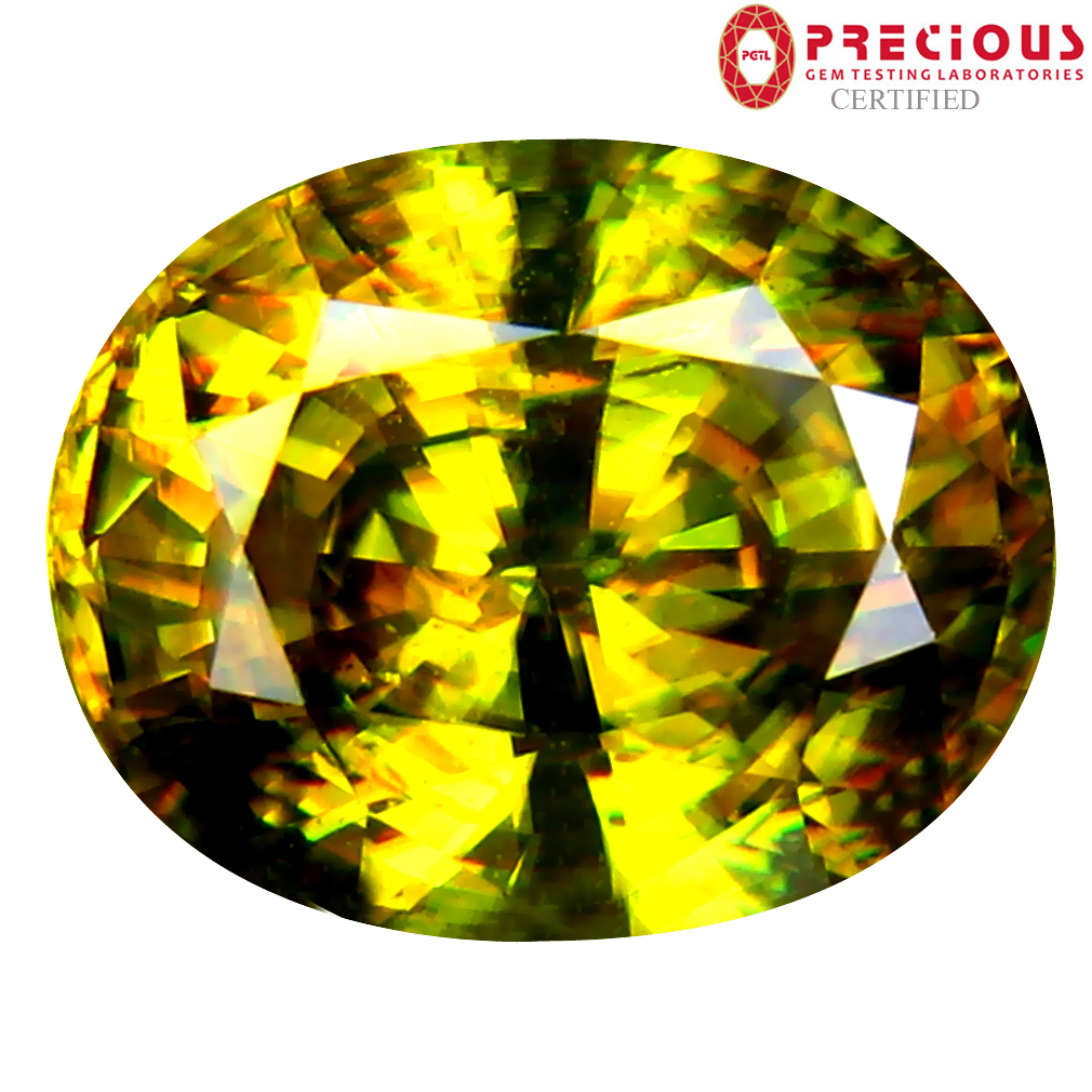 4.69 ct PGTL Certified AAA+ Grade Incomparable Oval Cut (11 x 9 mm) Un-Heated Greenish Yellow Sphene Stone