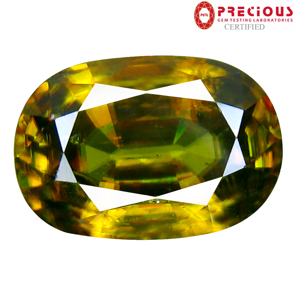 6.13 ct PGTL Certified AAA+ Grade Significant Oval Cut (13 x 9 mm) Un-Heated Greenish Yellow Sphene Stone