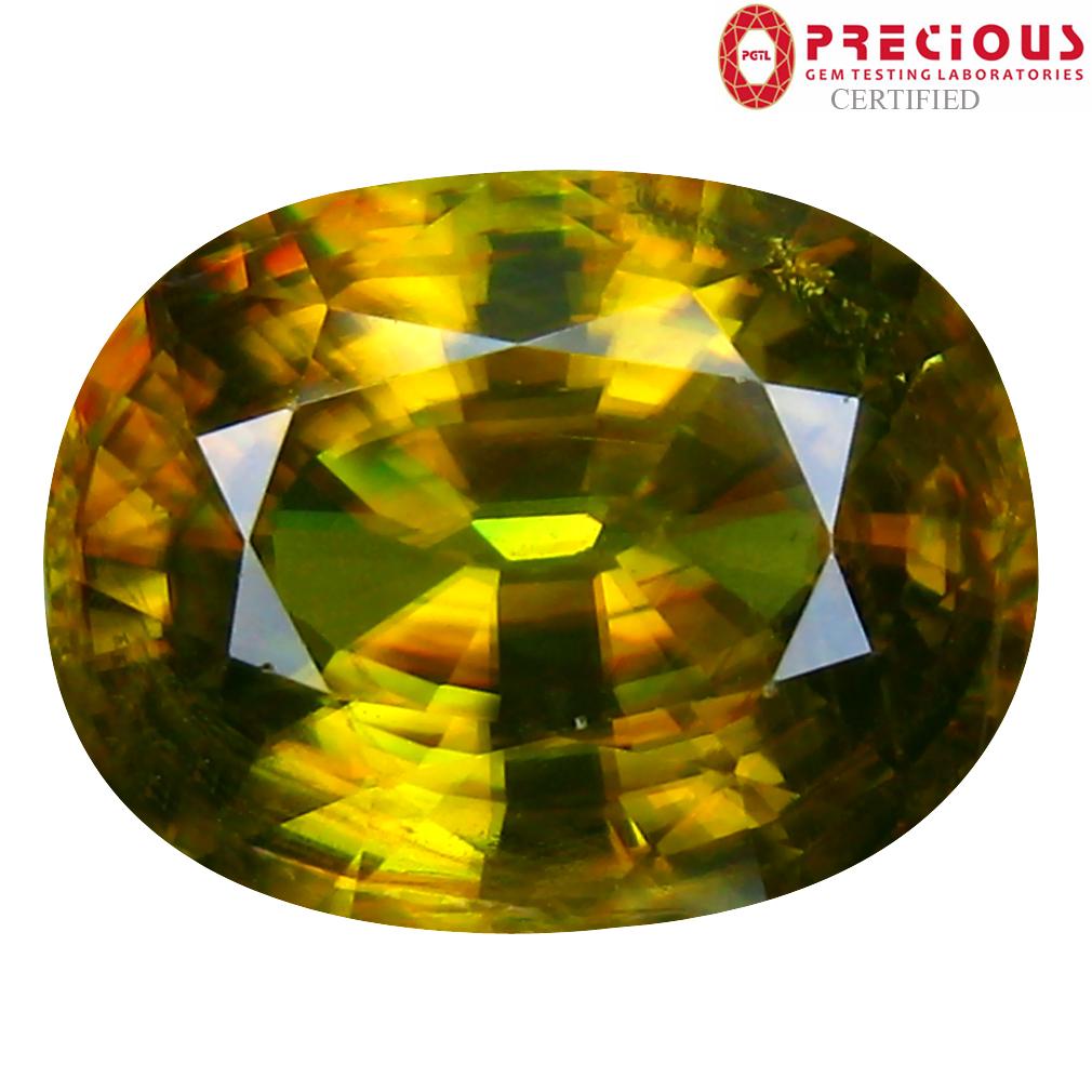 7.57 ct PGTL Certified AAA+ Grade Amazing Oval Cut (13 x 10 mm) Un-Heated Greenish Yellow Sphene Stone