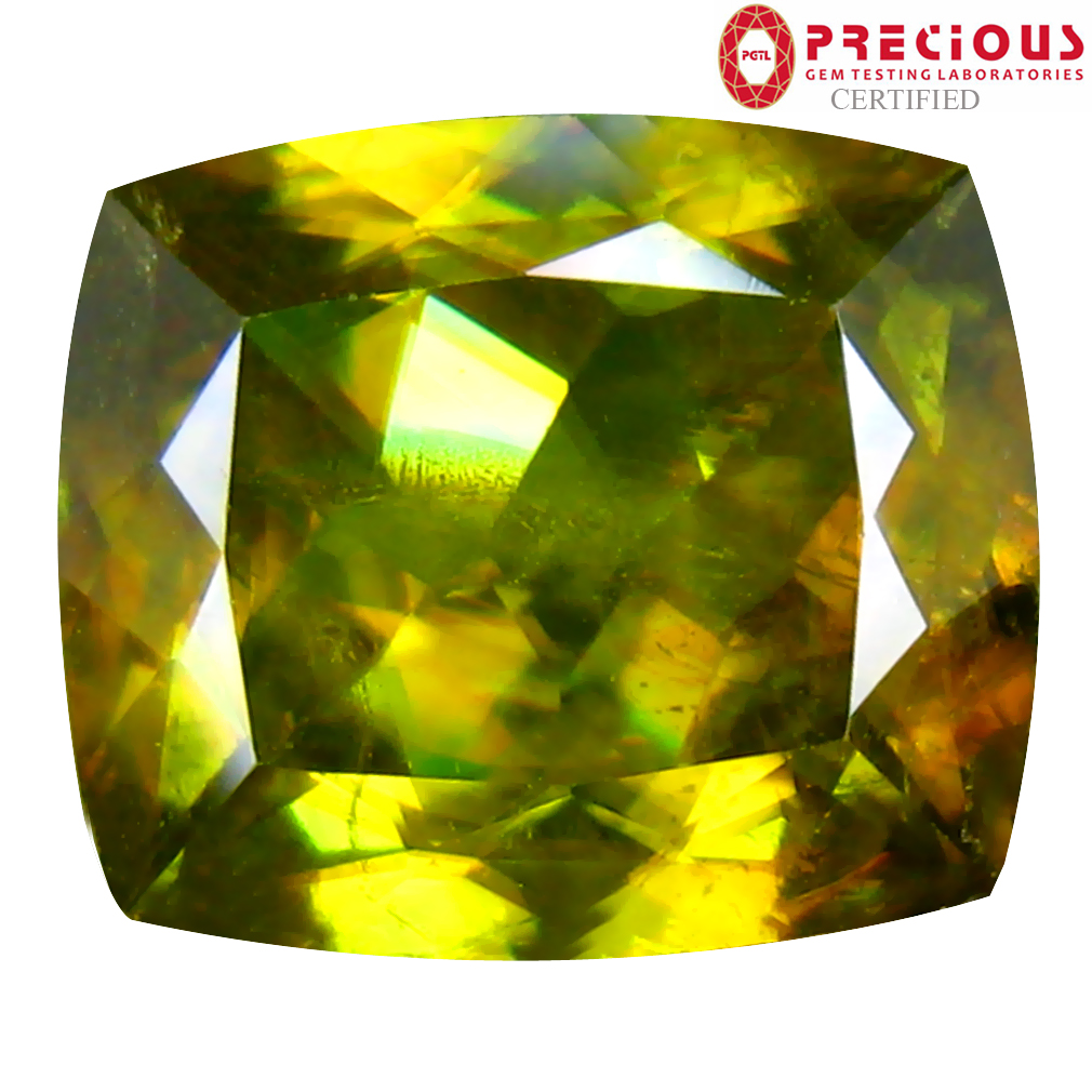 4.93 ct PGTL Certified AAA+ Grade Tremendous Cushion Cut (11 x 10 mm) Un-Heated Greenish Yellow Sphene Stone