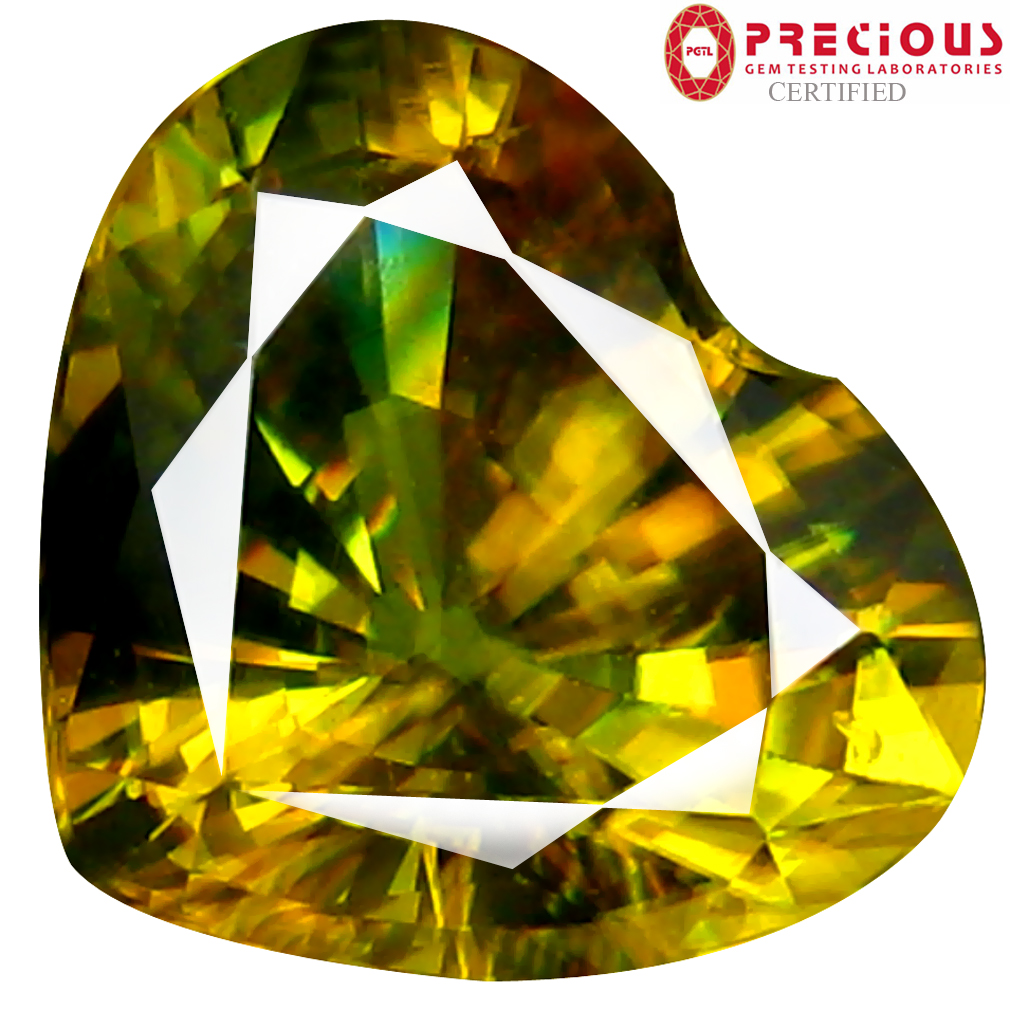 2.91 ct PGTL Certified AAA+ Grade Excellent Heart Cut (10 x 9 mm) Un-Heated Greenish Yellow Sphene Stone
