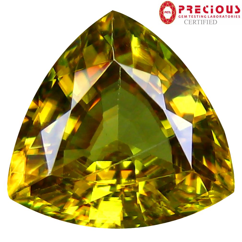5.41 ct PGTL Certified AAA+ Grade Flashing Trillion Cut (11 x 11 mm) Un-Heated Greenish Yellow Sphene Stone