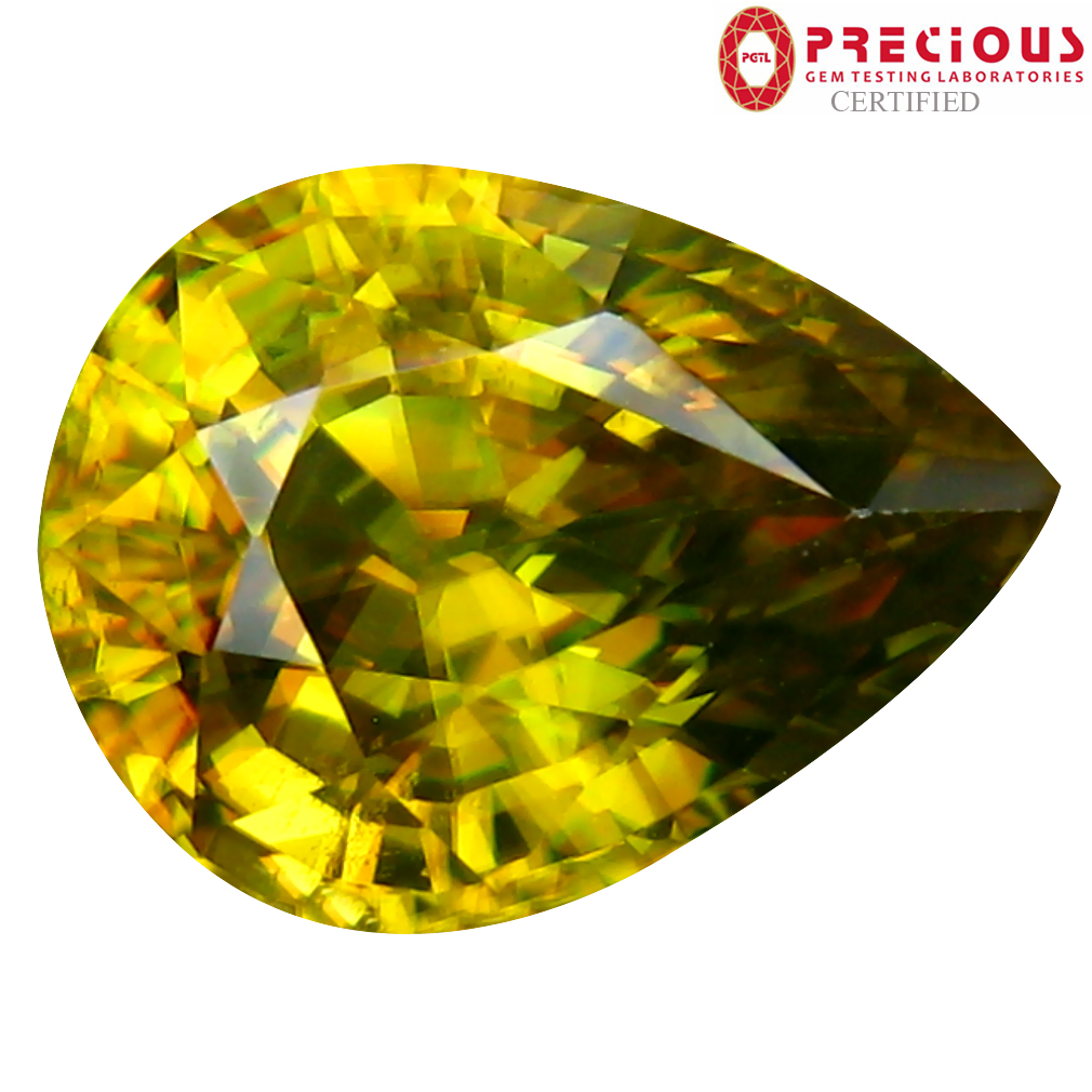 4.81 ct PGTL Certified AAA+ Grade Magnificent Pear Cut (12 x 10 mm) Un-Heated Greenish Yellow Sphene Stone