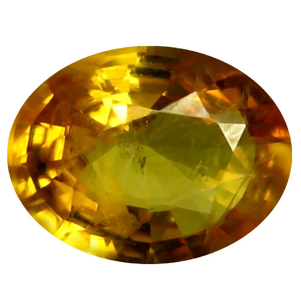 0.96 ct AAA Sparkling Oval Shape (7 x 5 mm) Orange Yellow Sapphire Natural Gemstone