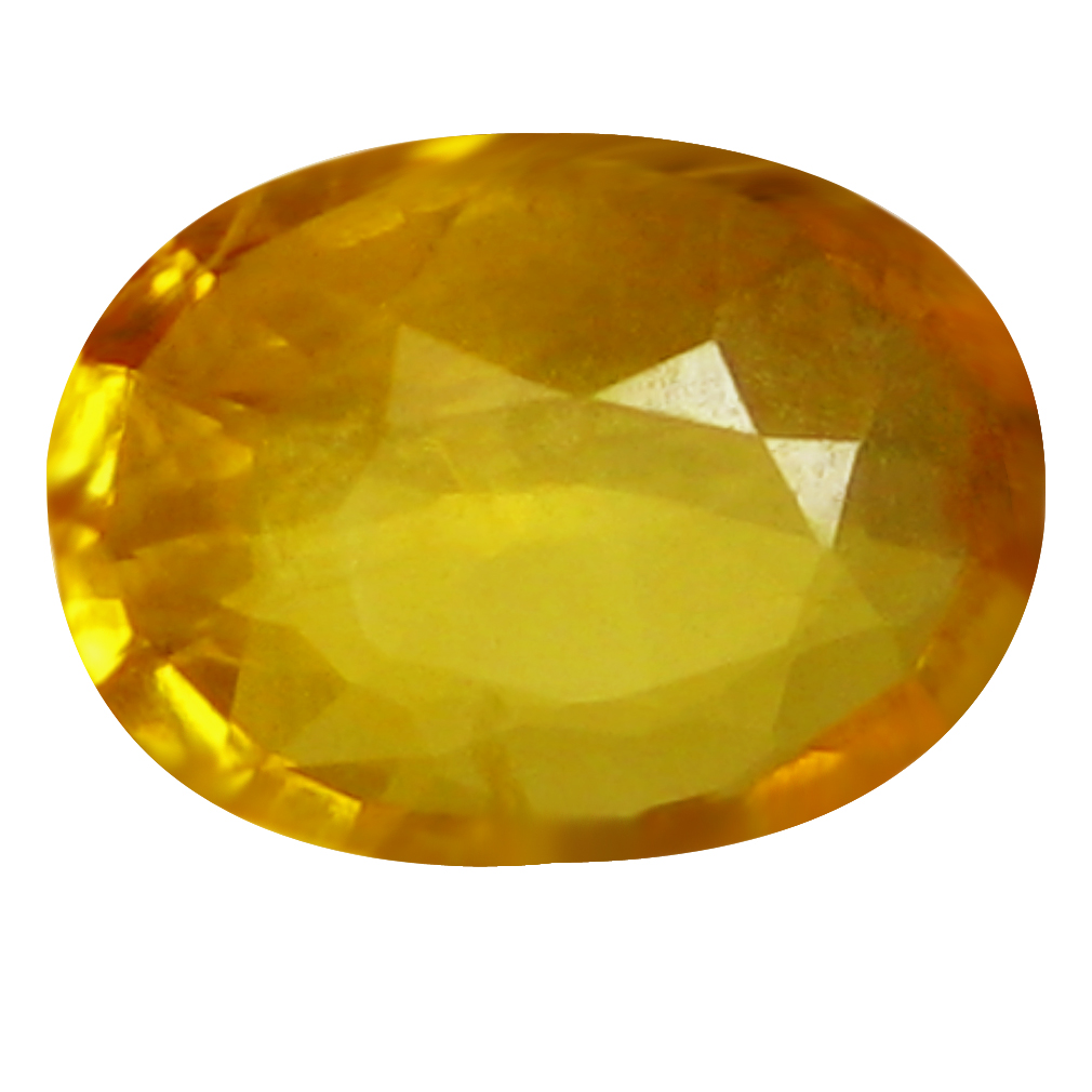 0.69 ct AAA Superior Oval Shape (7 x 5 mm) Orange Yellow Sapphire Natural Gemstone