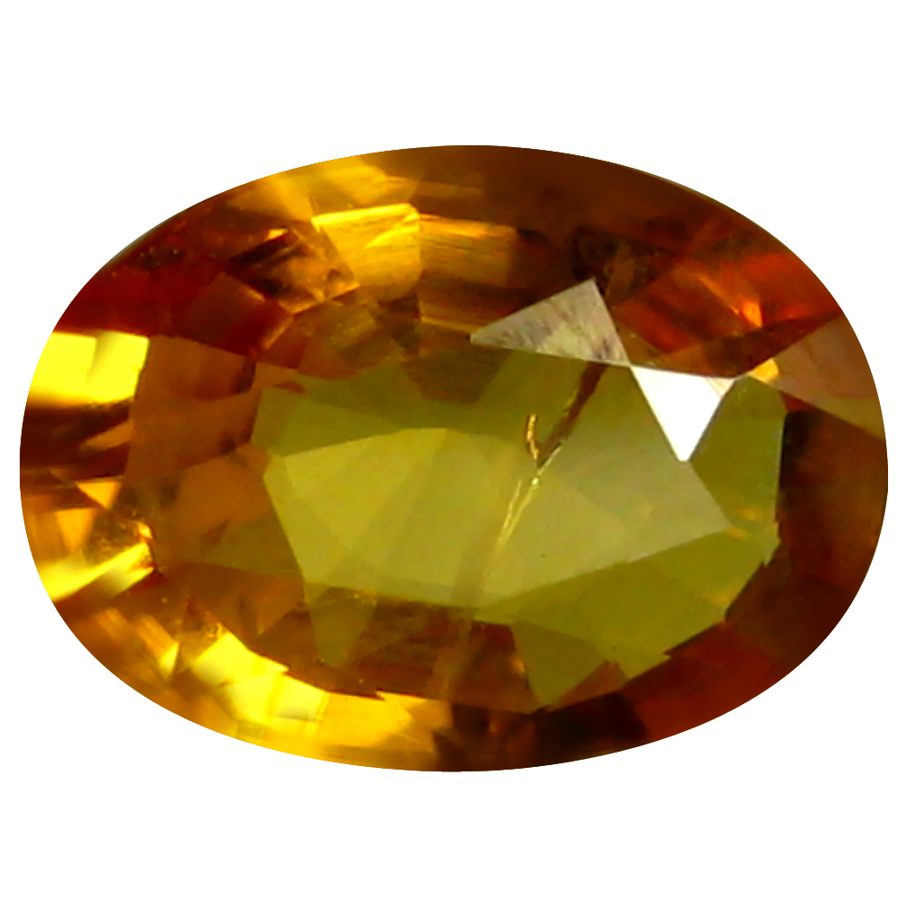 0.88 ct AAA Sparkling Oval Shape (7 x 5 mm) Orange Yellow Sapphire Natural Gemstone