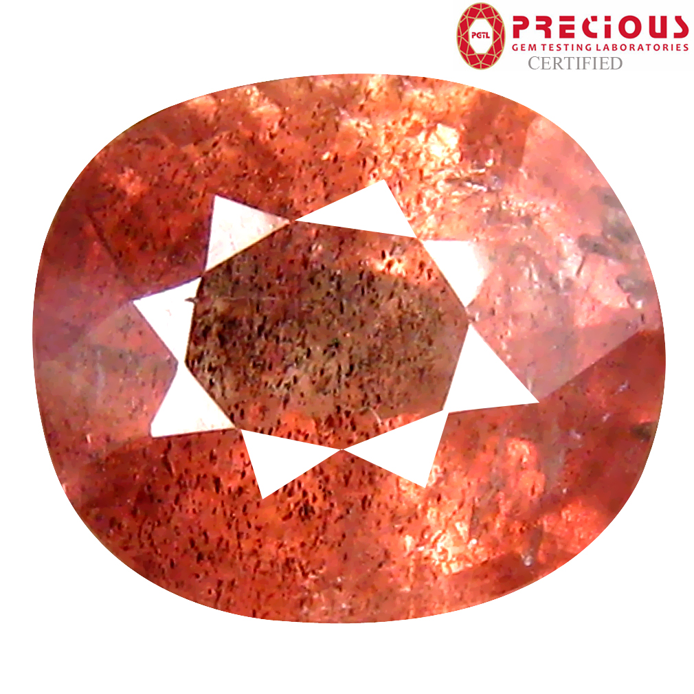 2.67 ct PGTL Certified Oval Cut (8 x 7 mm) Un-Heated Brownish Orange Sapphire Gemstone