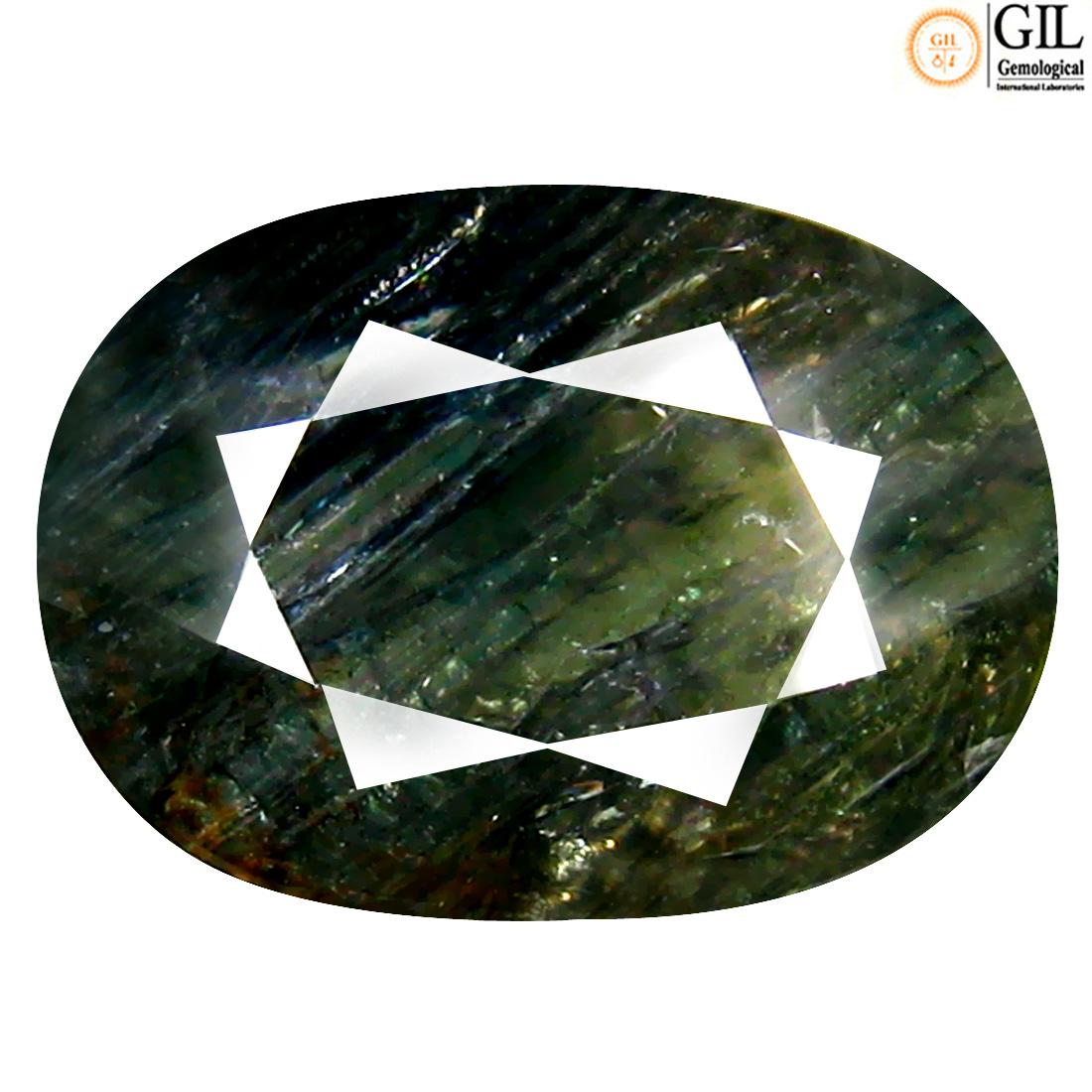 16.84 ct GIL Certified Mesmerizing Oval Cut (18 x 13 mm) Un-Heated Green Sapphire Loose Stone