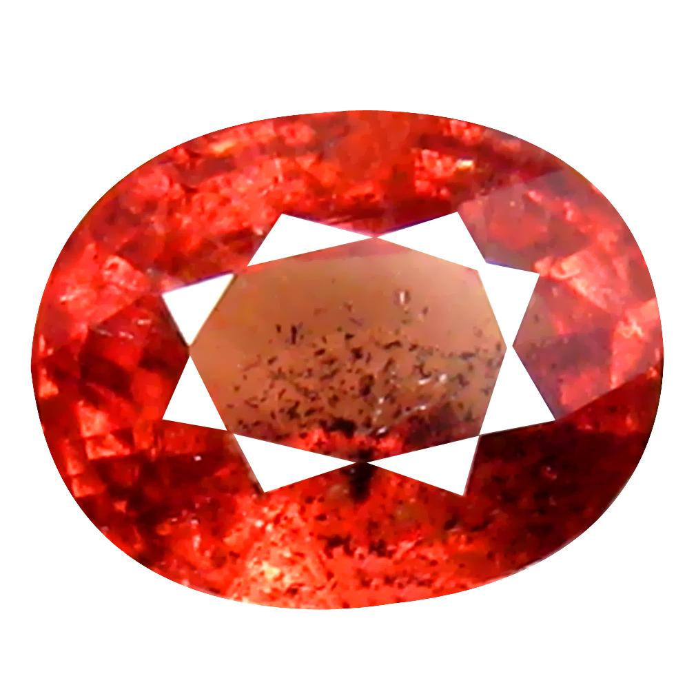0.98 ct Splendid Oval Cut (6 x 5 mm) Un-Heated Orange Red Sapphire Natural Gemstone