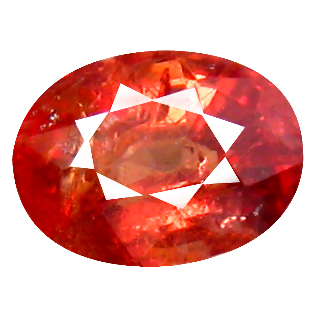 0.97 ct Extraordinary Oval Cut (6 x 5 mm) Un-Heated Orange Red Sapphire Natural Gemstone