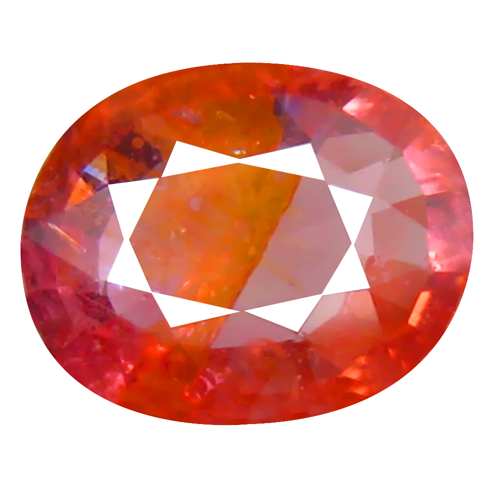 1.54 ct First-class Oval Cut (8 x 6 mm) Un-Heated Orange Red Sapphire Natural Gemstone