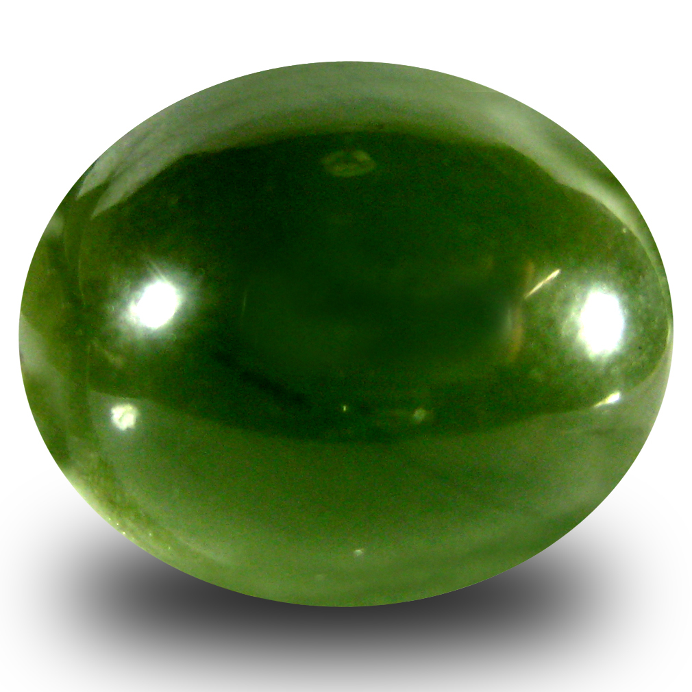 10.46 ct Eye-catching Oval Cabochon Cut (15 x 13 mm) Olive Green Un-Heated Serpentine Natural Gemstone