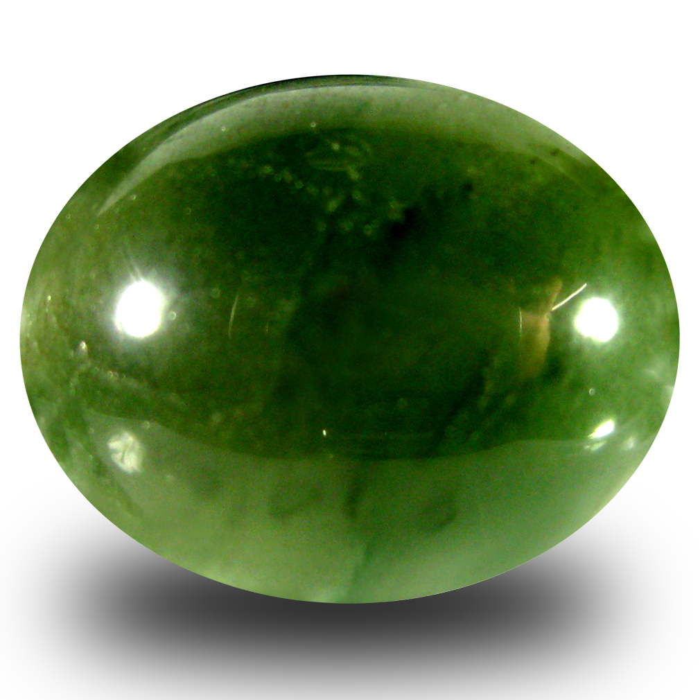15.71 ct Incomparable Oval Cabochon Cut (18 x 15 mm) Olive Green Un-Heated Serpentine Natural Gemstone