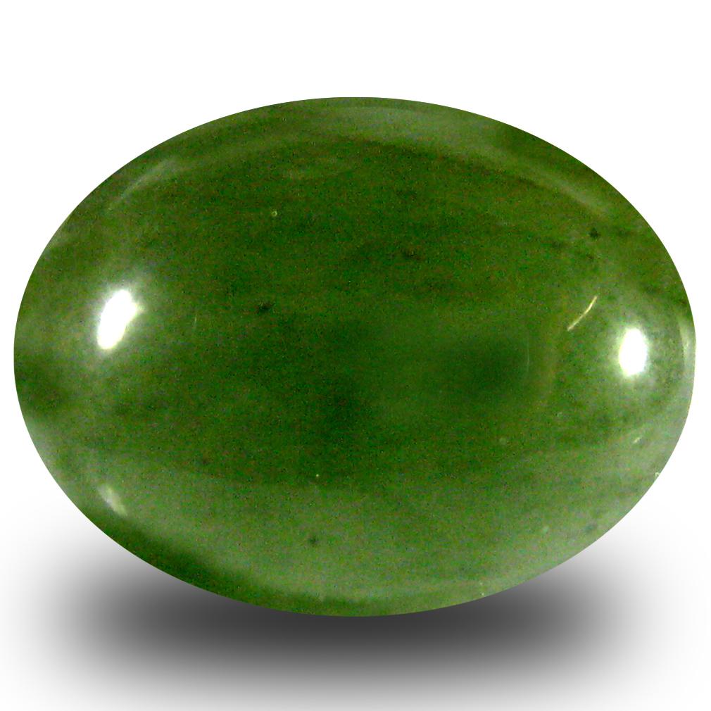 7.87 ct Elegant Oval Cabochon Cut (15 x 12 mm) Olive Green Un-Heated Serpentine Natural Gemstone