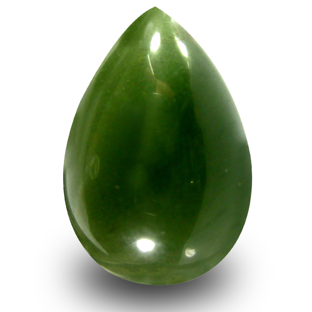 19.42 ct Elegant Pear Cabochon Cut (22 x 15 mm) Olive Green Un-Heated Serpentine Natural Gemstone