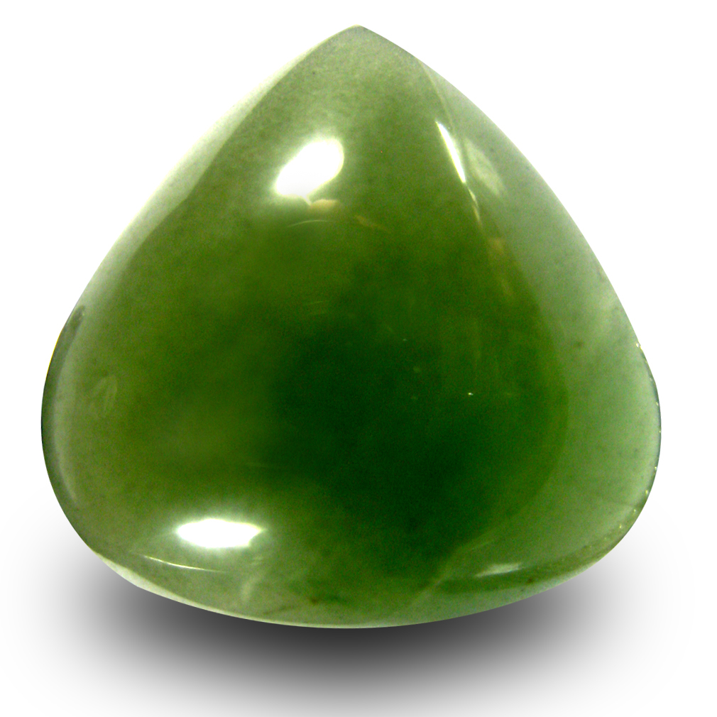 20.44 ct Fair Pear Cabochon Cut (19 x 19 mm) Olive Green Un-Heated Serpentine Natural Gemstone