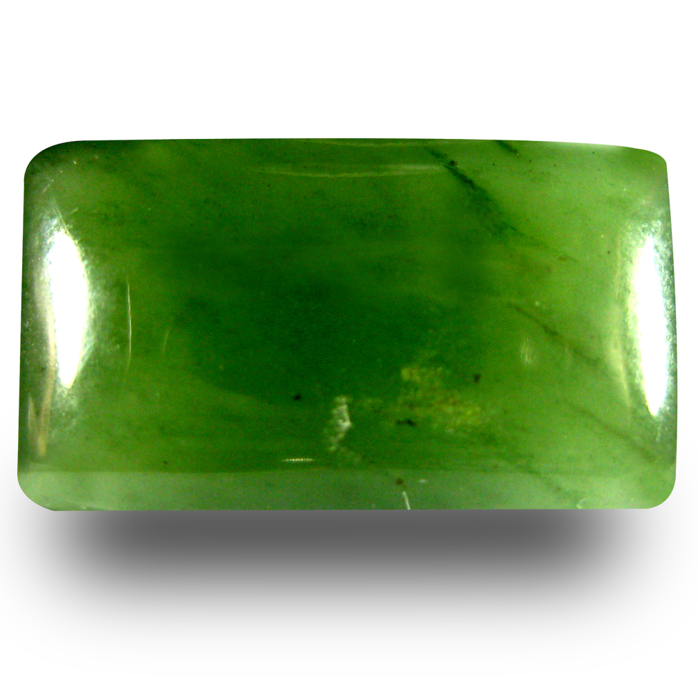 14.91 ct Shimmering Cushion Cabochon Cut (19 x 11 mm) Olive Green Un-Heated Serpentine Natural Gemstone