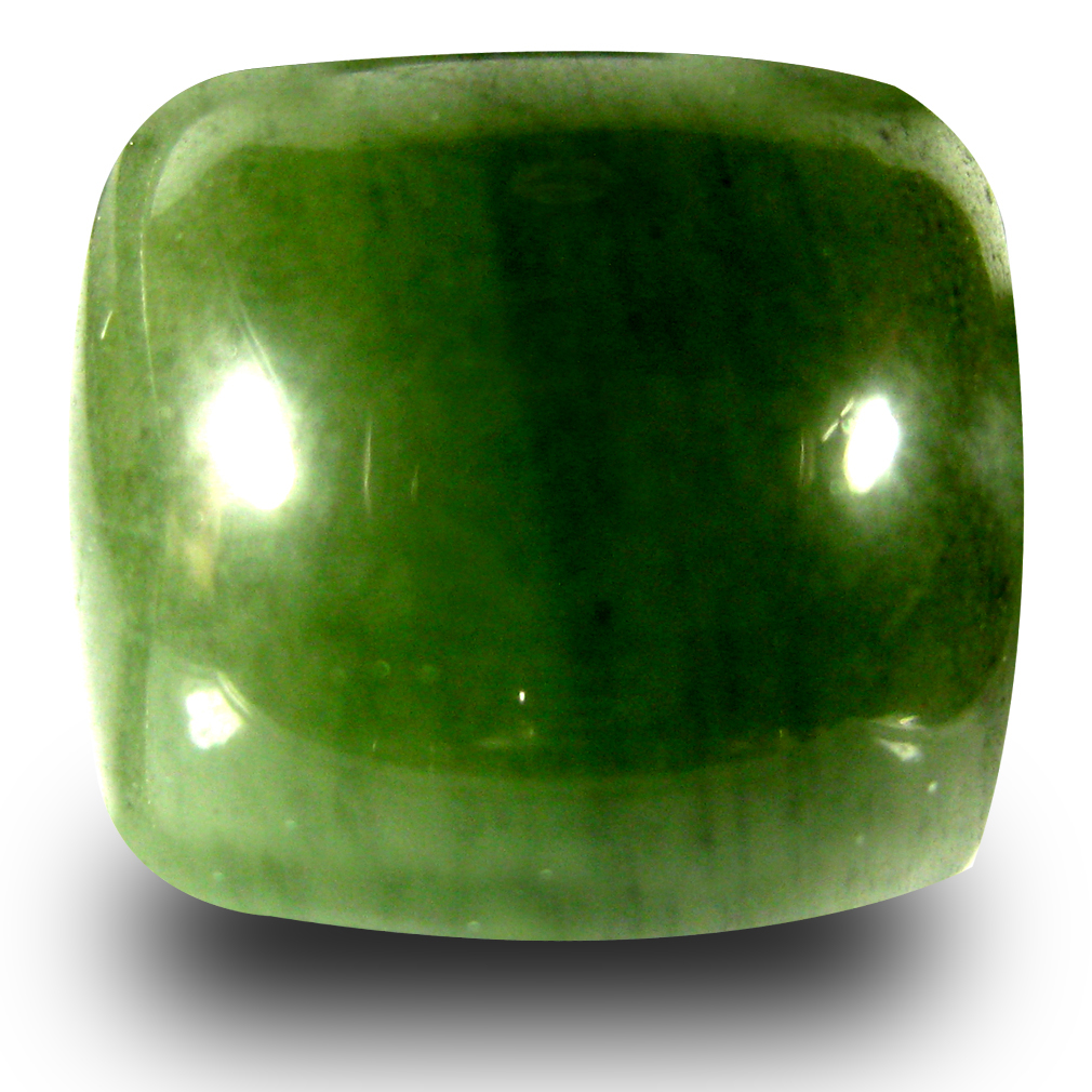 14.55 ct Eye-catching Cushion Cabochon Cut (15 x 13 mm) Olive Green Un-Heated Serpentine Natural Gemstone
