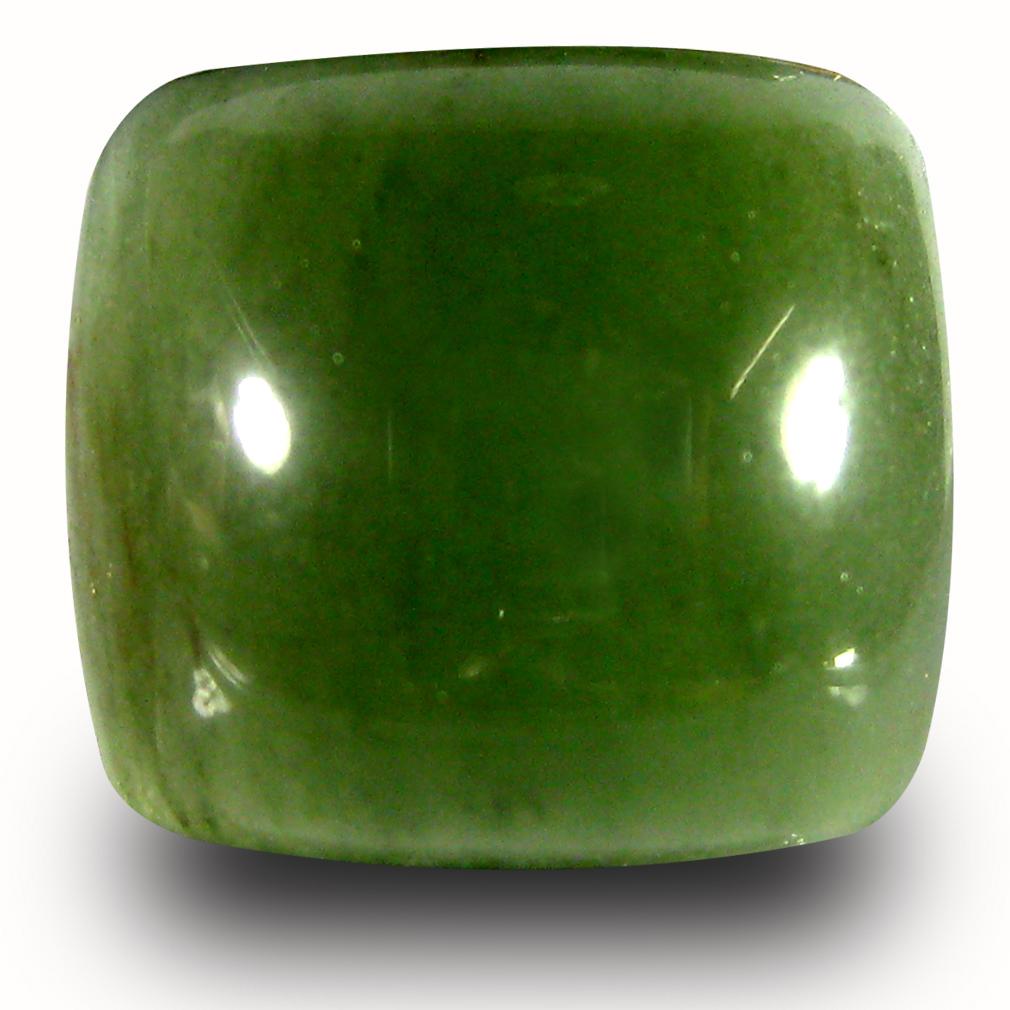 9.98 ct Supreme Cushion Cabochon Cut (14 x 13 mm) Olive Green Un-Heated Serpentine Natural Gemstone