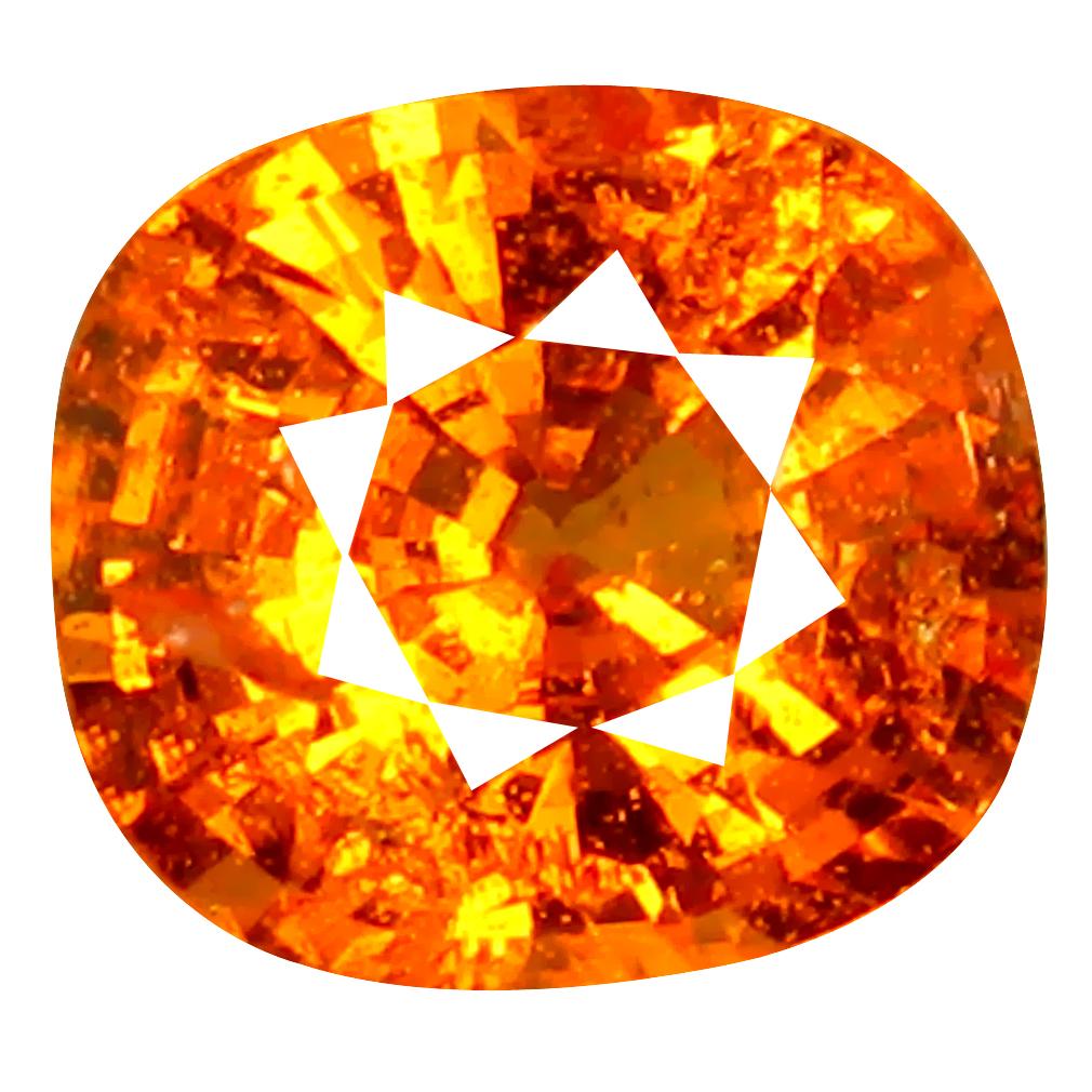 1.19 ct AAA+ Superb Cushion Shape (6 x 6 mm) Fanta Orange Spessartine Natural Gemstone