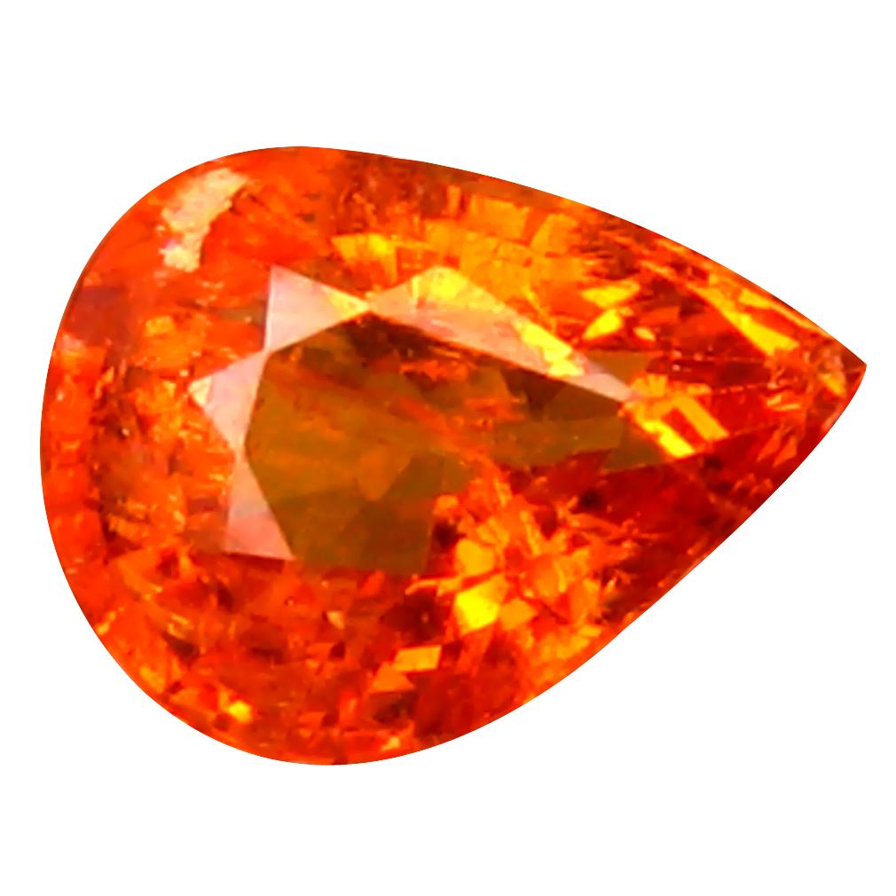 1.07 ct Resplendent Pear Cut (7 x 5 mm) Namibia Fanta Orange Spessartine Natural Gemstone