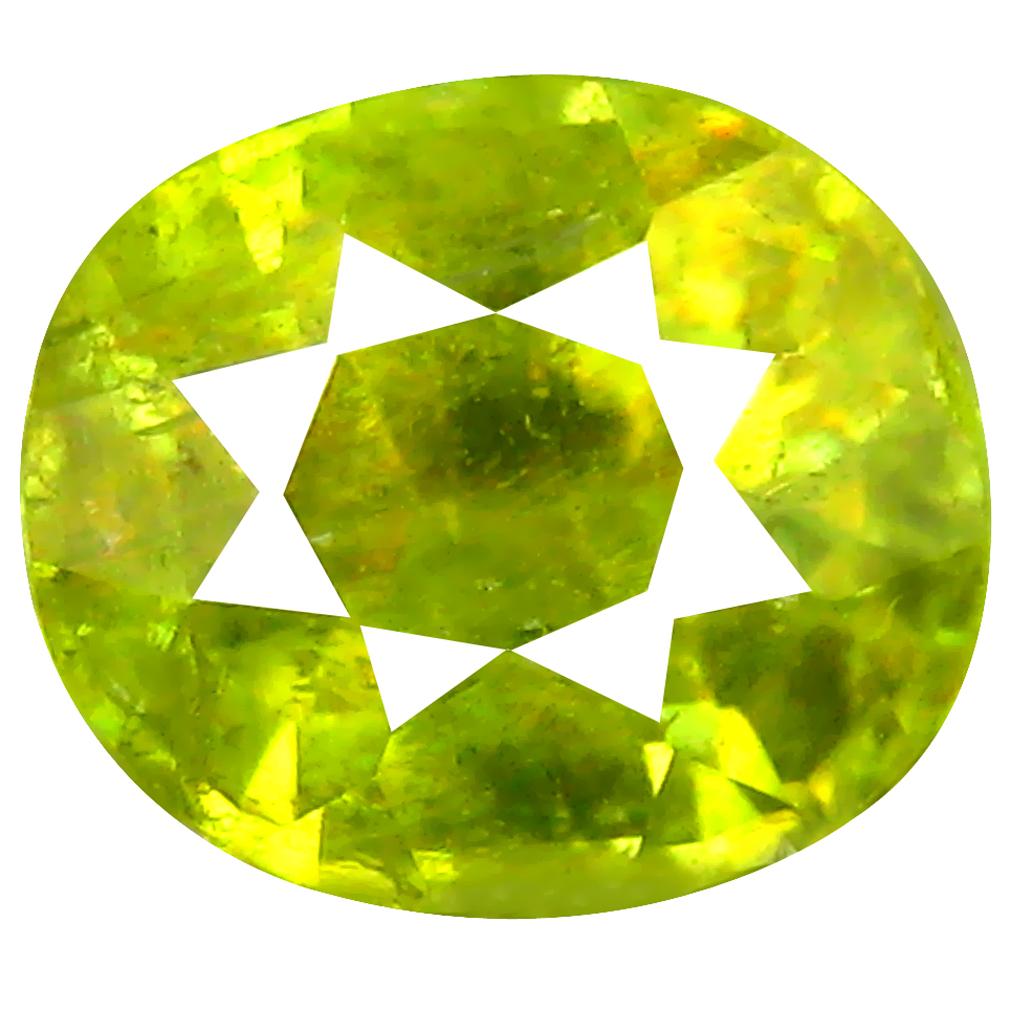 1.69 ct Supreme Oval Cut (7 x 6 mm) Pakistan Green Sphene Natural Gemstone