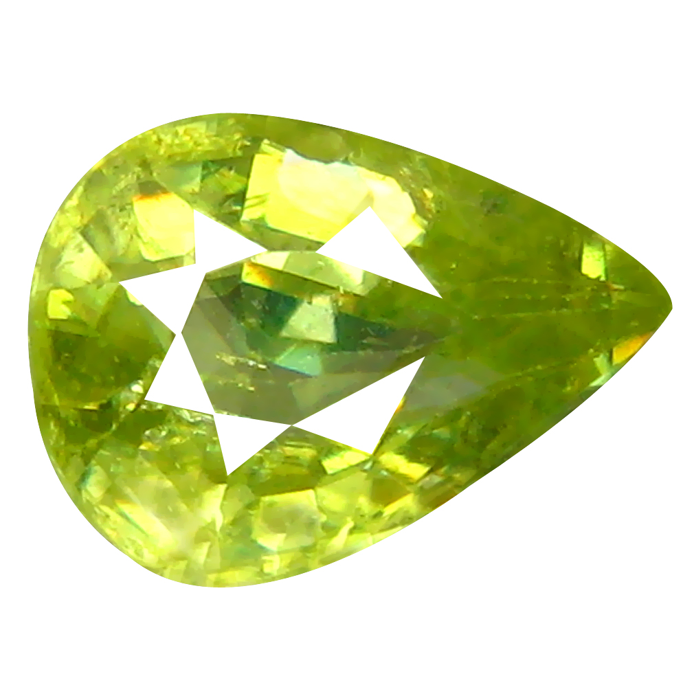 1.13 ct Superior Pear Cut (8 x 6 mm) Pakistan Green Sphene Natural Gemstone