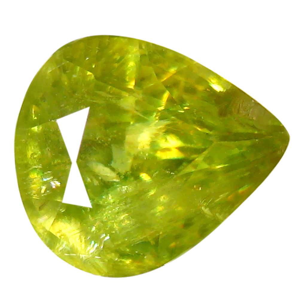 1.62 ct Topnotch Pear Cut (8 x 7 mm) Pakistan Green Sphene Natural Gemstone