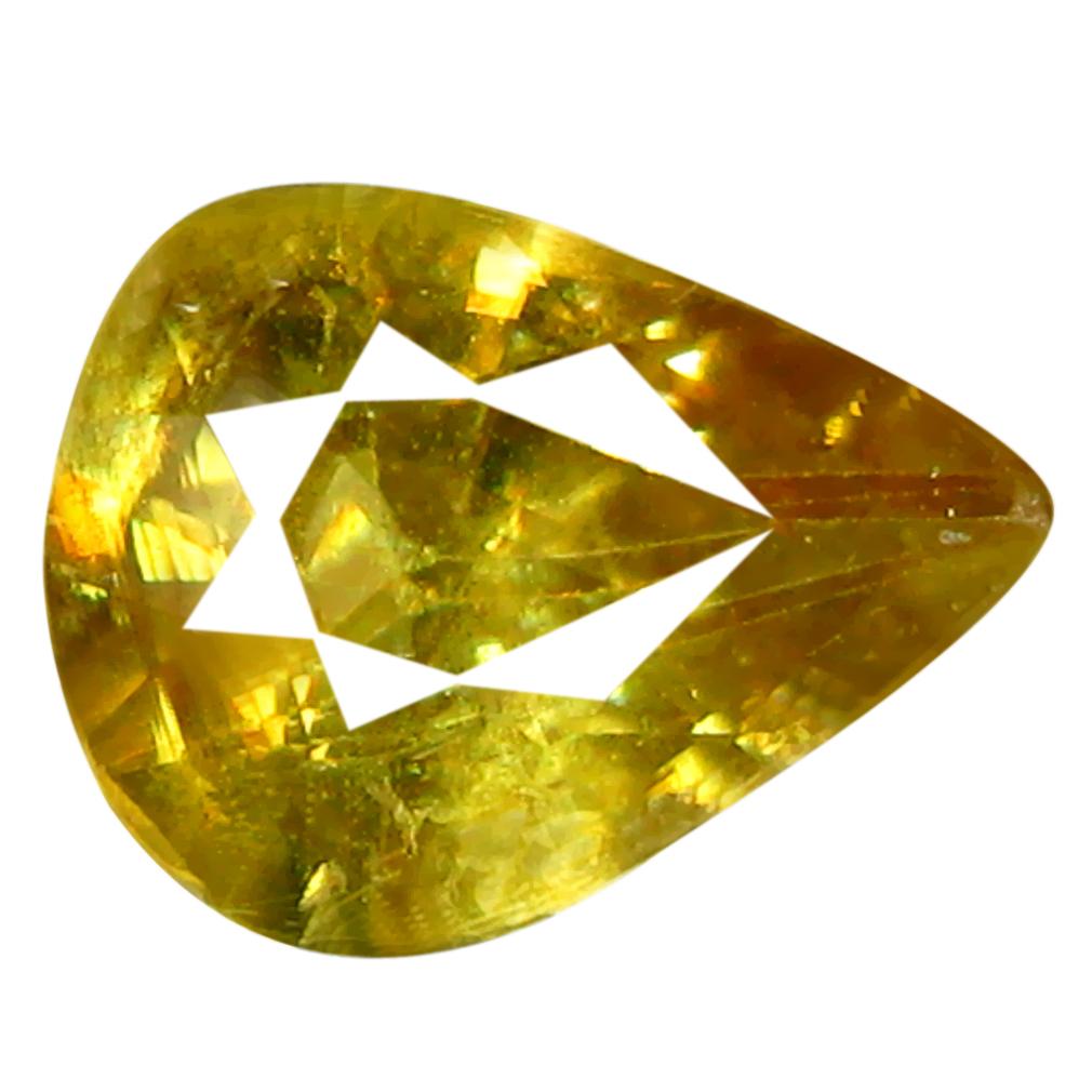 0.94 ct Attractive Pear Cut (8 x 6 mm) Pakistan Yellownish Green Sphene Natural Gemstone