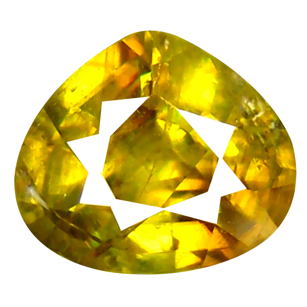 0.97 ct Grand looking Pear Cut (6 x 7 mm) Pakistan Brownish Yellow Sphene Natural Gemstone