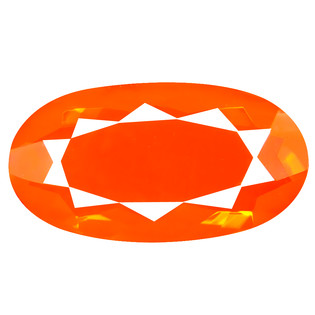 7.40 ct Significant Oval Cut (22 x 12 mm) Mexico Orange Red Fire Opal Natural Gemstone