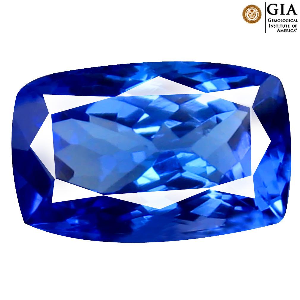 3.68 ct GIA CERTIFIED AAAA PHENOMENAL CUSHION CUT (11 X 7 MM) NATURAL D'BLOCK TANZANITE GEMSTONE