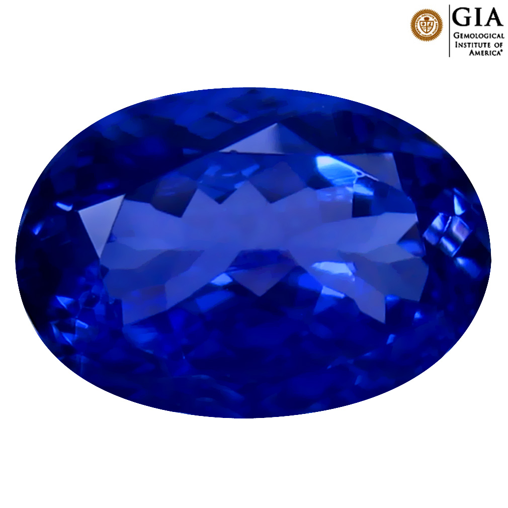 3.93 ct GIA CERTIFIED AAAA EXCELLENT OVAL CUT (12 X 8 MM) NATURAL D'BLOCK TANZANITE GEMSTONE