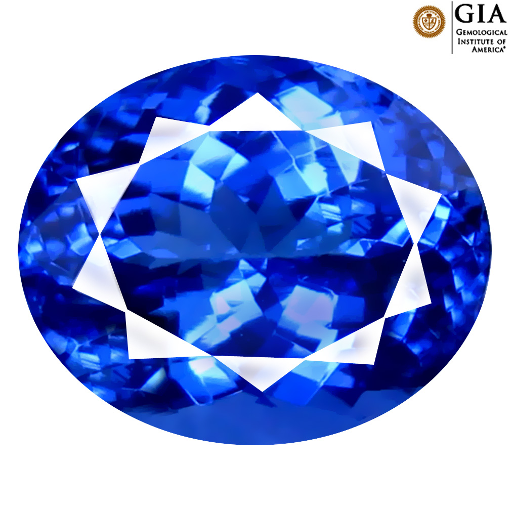 4.46 ct GIA CERTIFIED AAAA REMARKABLE OVAL CUT (10 X 8 MM) NATURAL D'BLOCK TANZANITE GEMSTONE
