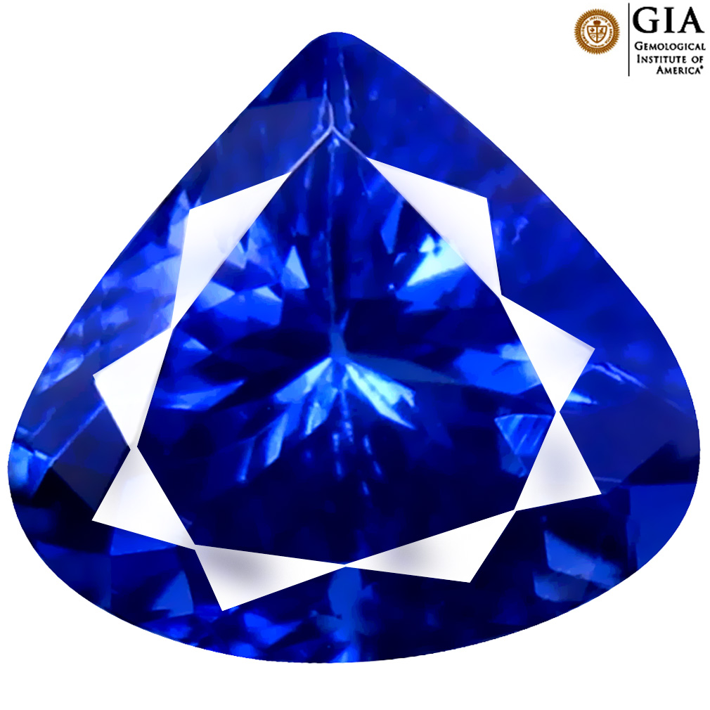 2.86 ct GIA CERTIFIED AAAA ATTRACTIVE HEART CUT (9 X 10 MM) NATURAL D'BLOCK TANZANITE GEMSTONE