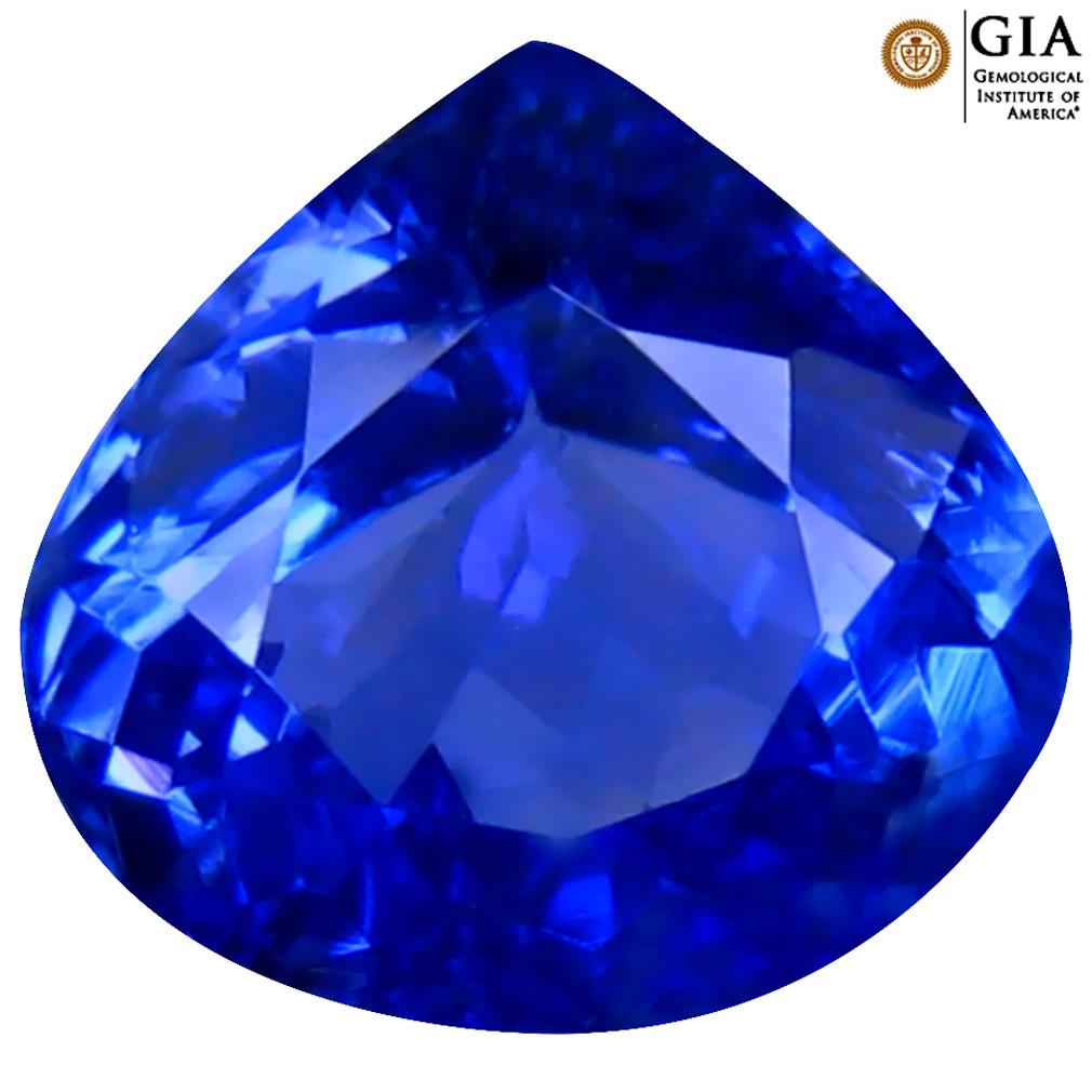 3.43 ct GIA CERTIFIED AAAA FABULOUS HEART CUT (10 X 10 MM) NATURAL D'BLOCK TANZANITE GEMSTONE
