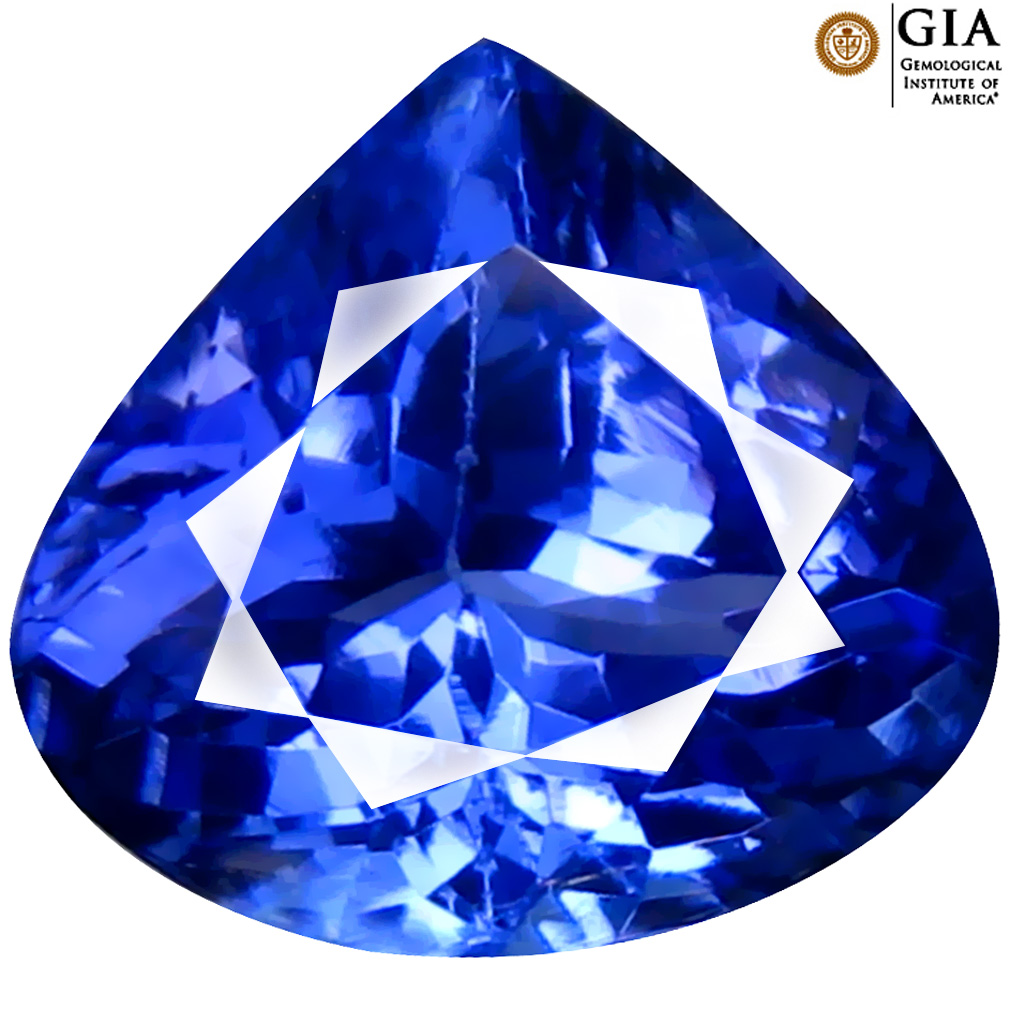 3.34 ct GIA CERTIFIED AAAA SHIMMERING HEART CUT (9 X 10 MM) NATURAL D'BLOCK TANZANITE GEMSTONE