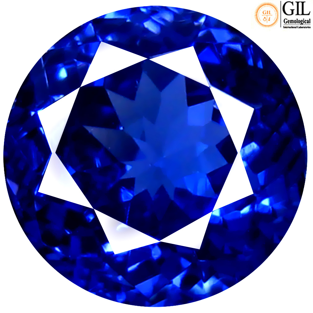 2.62 ct GIL CERTIFIED RESPLENDENT ROUND SHAPE (8 X 8 MM) BLUISH VIOLET TANZANITE NATURAL GEMSTONE