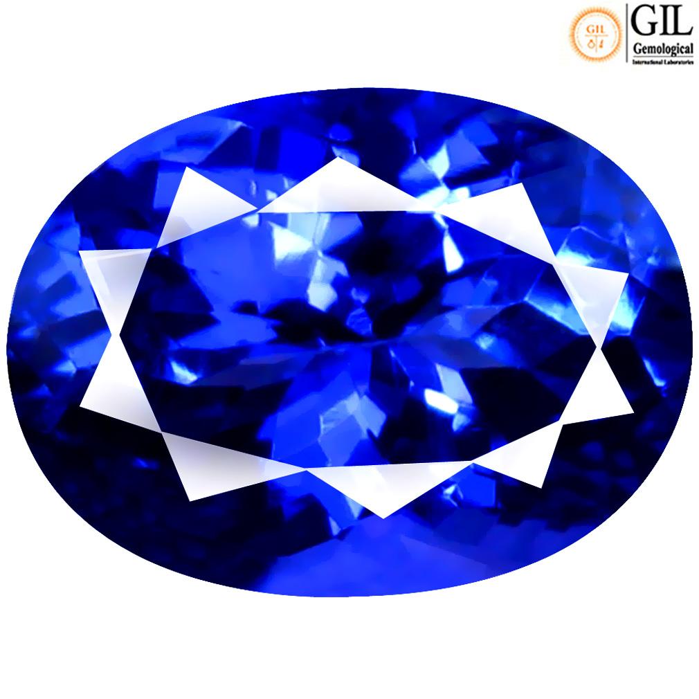 2.54 ct GIL CERTIFIED ASTONISHING OVAL SHAPE (10 X 7 MM) BLUISH VIOLET TANZANITE NATURAL GEMSTONE