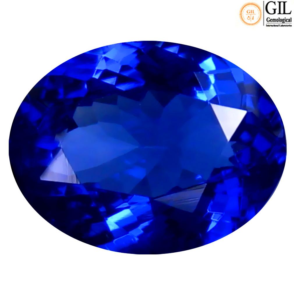 1.96 ct GIL CERTIFIED SUPREME OVAL SHAPE (9 X 7 MM) BLUISH VIOLET TANZANITE NATURAL GEMSTONE