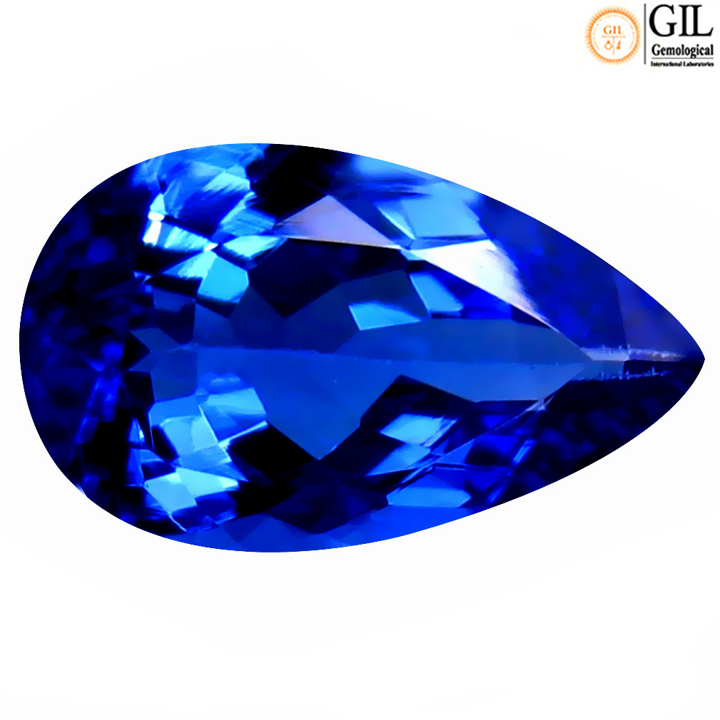 1.97 ct GIL CERTIFIED INCOMPARABLE PEAR SHAPE (11 X 6 MM) BLUISH VIOLET TANZANITE NATURAL GEMSTONE