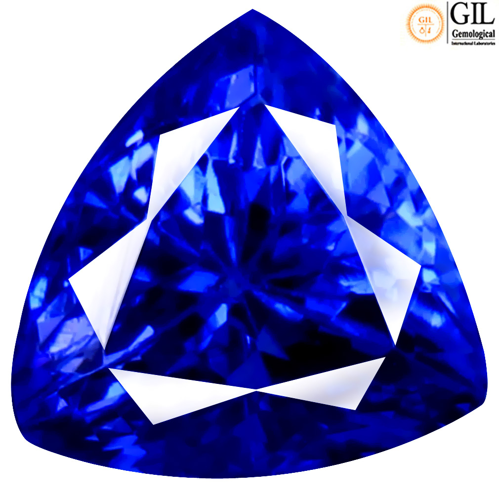 1.87 ct GIL CERTIFIED FANTASTIC TRILLION SHAPE (7 X 6 MM) BLUISH VIOLET TANZANITE NATURAL GEMSTONE