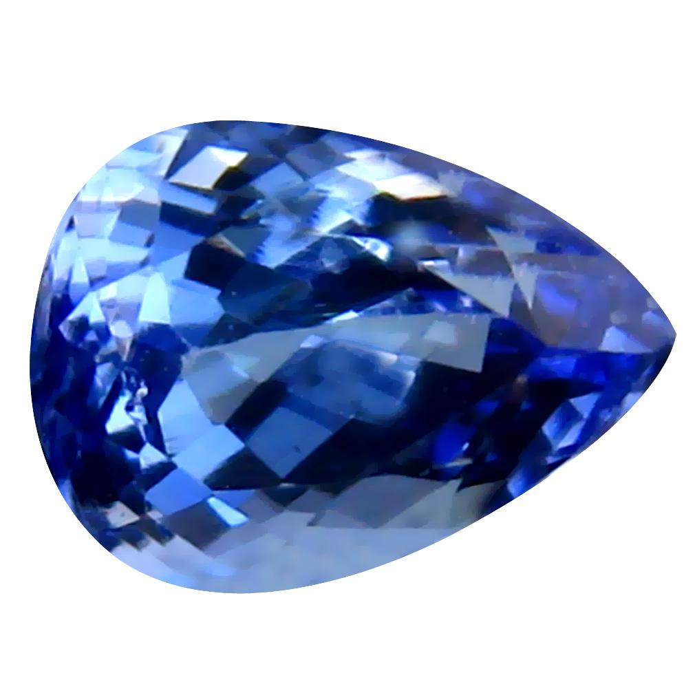 0.94 ct AAA Very good Pear Cut (7 x 5 mm) Purplish Blue Tanzanite Natural Gemstone