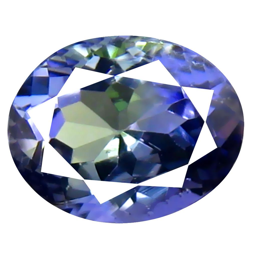 1.06 ct AAA Shimmering Oval Cut (7 x 6 mm) Bluish Violet Tanzanite Natural Gemstone