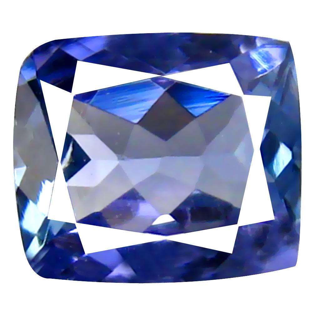 0.70 ct AAA Dazzling Cushion Cut (6 x 5 mm) Bluish Violet Tanzanite Natural Gemstone