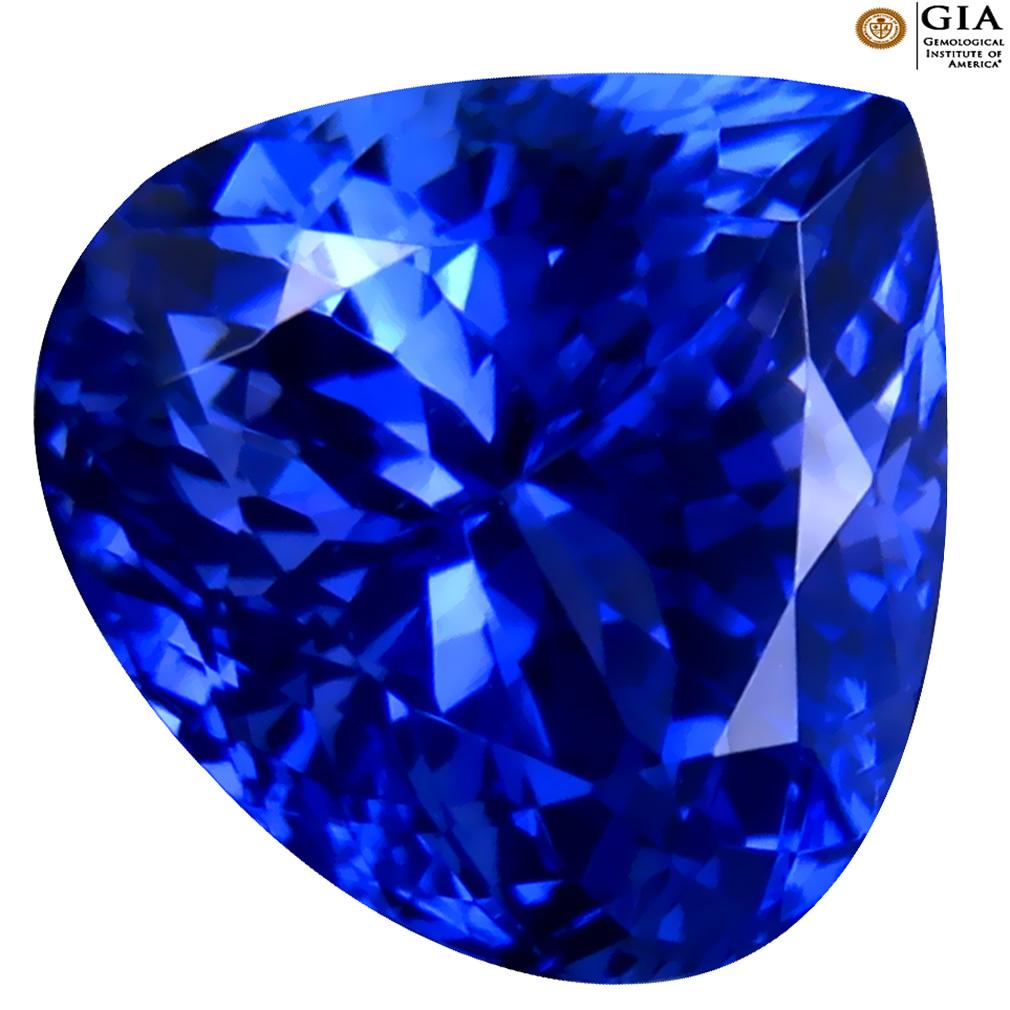 6.48 ct GIA CERTIFIED AAAA EYE-CATCHING HEART CUT (11 X 11 MM) NATURAL D'BLOCK TANZANITE GEMSTONE