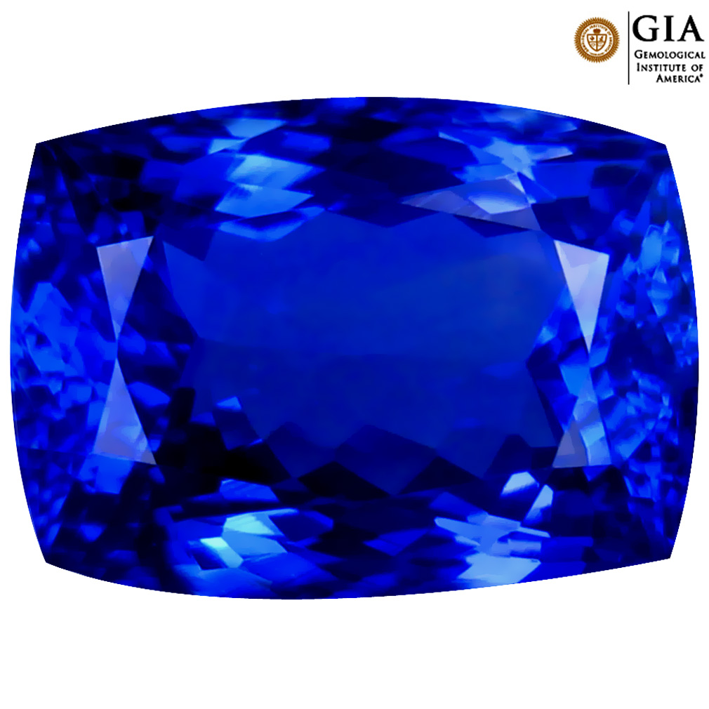 7.90 ct GIA CERTIFIED AAAA SIGNIFICANT CUSHION CUT (13 X 9 MM) NATURAL D'BLOCK TANZANITE GEMSTONE