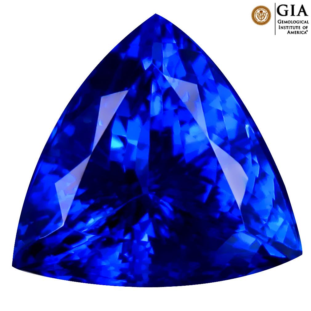6.92 ct GIA CERTIFIED AAAA FAIR TRIANGLE CUT (12 X 12 MM) NATURAL D'BLOCK TANZANITE GEMSTONE