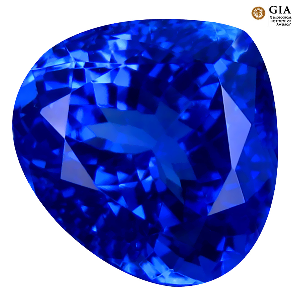 4.78 ct GIA CERTIFIED AAAA EYE-POPPING HEART CUT (10 X 10 MM) NATURAL D'BLOCK TANZANITE GEMSTONE